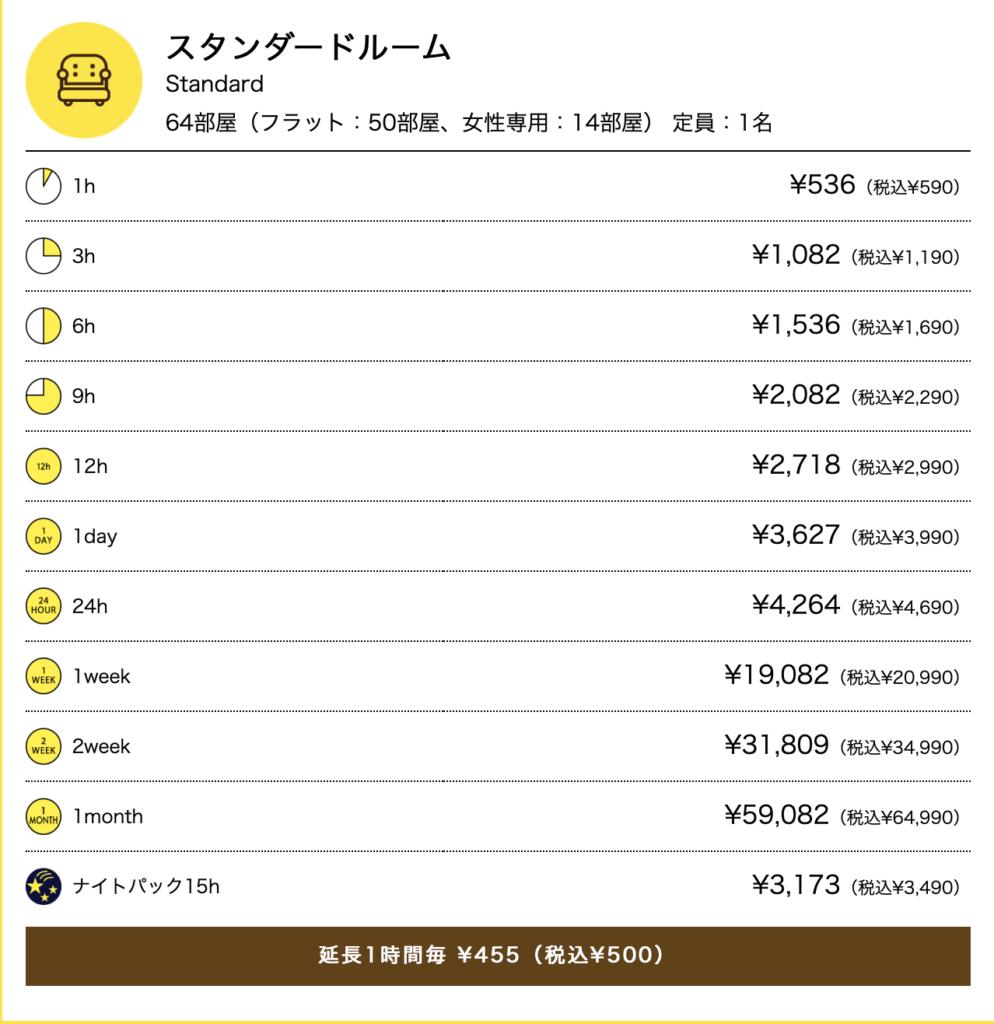 ネトマルなんばスタンダードルーム週末年末年始料金表 1h¥536(税込¥590) 3h ¥1,082(税込¥1,190) 6h ¥1,536(税込¥1,690) 9h ¥2,082(税込¥2,290) 12h ¥2,718(税込¥2,990) 1day ¥3,627(税込¥3,990) 24h ¥4,264(税込¥4,690) 1week ¥19,082(税込¥20,990) 2week ¥31,809(税込¥34,990) 1month ¥59,082(税込¥64,990) ナイトパック15h ¥3,173(税込¥3,490)